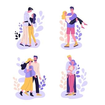 幸せなロマンチックなカップルのセットです。日付の男と女、ロマンチックな関係。漫画のスタイルのイラスト