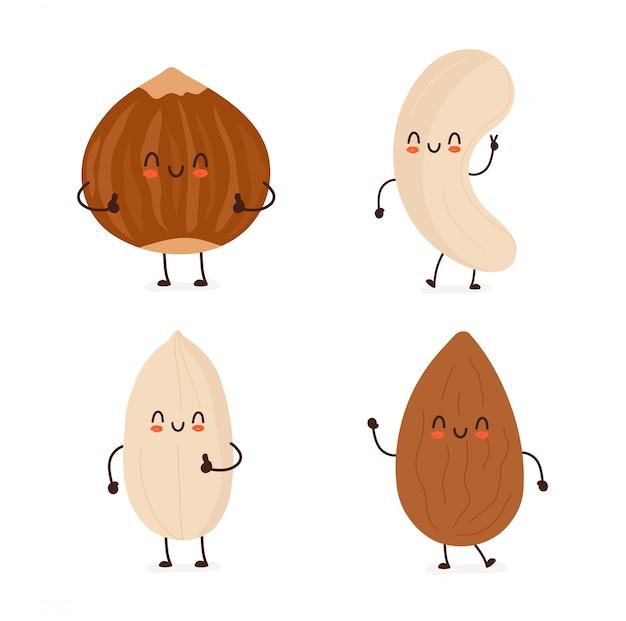 Набор счастливых улыбающихся милых орехов