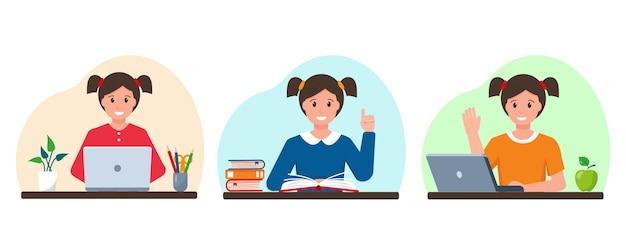 ノートパソコンと本で若い女の子を勉強している幸せな笑顔の生徒の女の子のセット