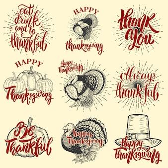 幸せな感謝祭のバッジのセット。トルコ、カボチャ。ポスター、エンブレム、記号の要素。図