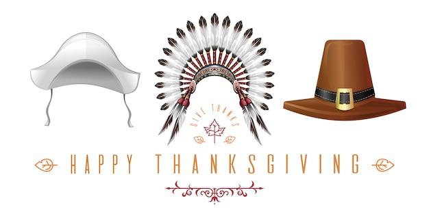 Набор шляп для празднования дня благодарения. коллекция шляп благодарения. счастливого дня благодарения. поблагодарить.