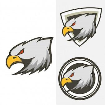 Set of head eagle logo vector