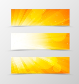 Набор заголовка баннера динамического дизайна в оранжевых тонах