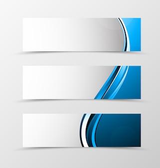 Набор заголовка баннера волна дизайн с синими линиями