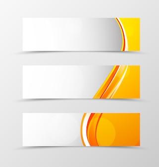오렌지 라인 헤더 배너 웨이브 디자인의 세트