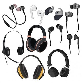 Комплект наушников. коллекция различных устройств для прослушивания музыки.