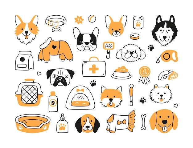 Набор голов собак разных пород и собачьих аксессуаров. ошейник, поводок, намордник, переноска, еда, одежда. собачьи лица. нарисованный от руки