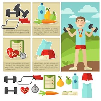 Набор здоровой пищи и фитнеса.