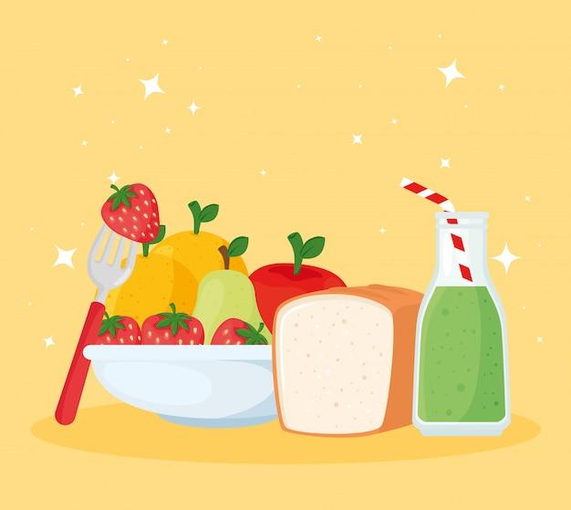 健康的で新鮮な果物ベクトルイラストデザインのセット
