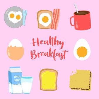 Набор векторных иконок здорового завтрака, можно использовать для создания плаката