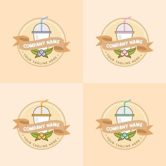 부드러운 파스텔 브라운 색상의 다양한 과일 로고 템플릿이 있는 건강 주스 음료 및 음료 세트