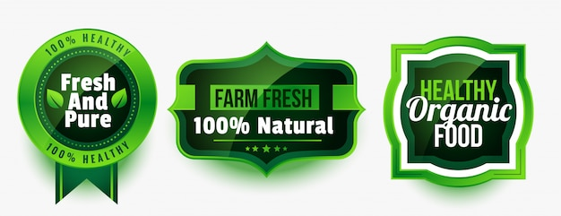건강한 유기농 순수 식품 라벨 또는 스티커 세트