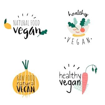 Set of healthy vegan logo vectors