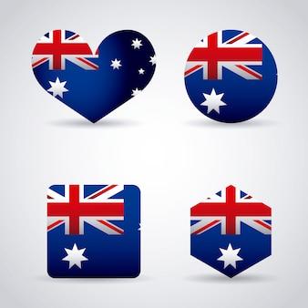 호주 국기와 함께 심장, 원형 및 도형 세트