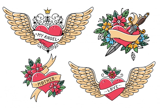 古い学校のスタイルで心のセット。リボン、花、単語の母と心。王冠と私の心のフレーズでハートを飛んでいます。短剣と心。オールドスクール・スライル。