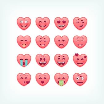 Набор смайликов в форме сердца. романтические и валентина смайлики, смайлики.