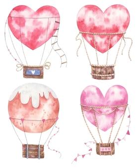 バレンタインデー、子供のイラストのハート型と丸い風船のセット