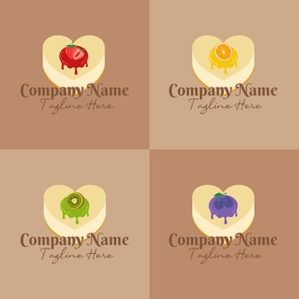 Набор чизкейка в форме сердца с различными фруктами, покрывающими шаблон логотипа джема на коричневом фоне