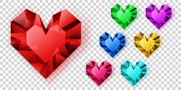 Набор сердечек различных цветов из кристаллов