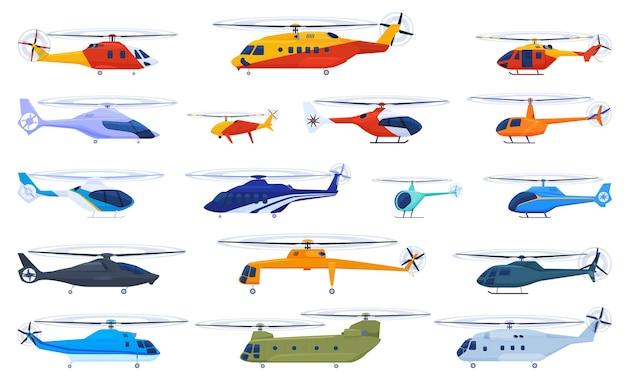 白い背景の上のヘリコプターのセット