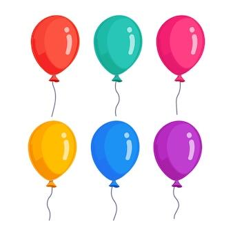 헬륨 풍선, 비행 공기 공의 집합입니다. 생일, 공휴일. 파티 장식