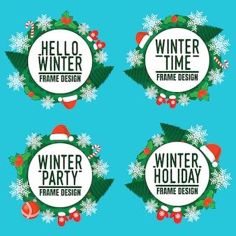 안녕하세요 겨울 휴가 프레임 디자인의 세트