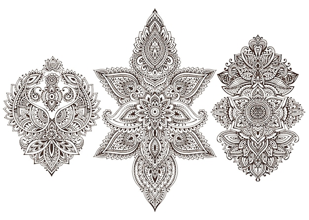 Набор цветочных элементов хной на основе традиционных азиатских орнаментов. коллекция рисунков пейсли менди