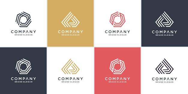 ラインアートスタイルプレミアムベクトルと六角形と三角形のロゴのセット