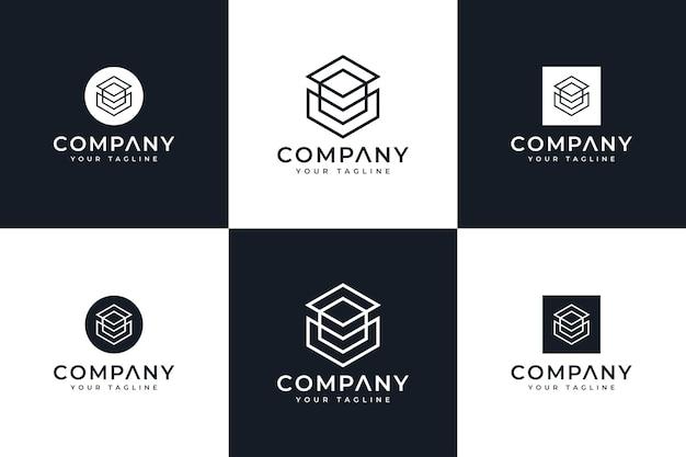 Набор креативного дизайна логотипа с шестиугольной линией для всех целей
