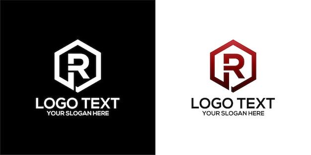 文字rデザインテンプレートプレミアムベクトルと組み合わせた六角形のロゴのセット