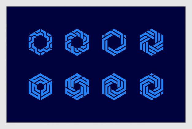 六角形のロゴデザインプレミアムベクトルのセットです。ロゴは、ビジネス、ブランディング、アイデンティティ、企業、会社に使用できます。