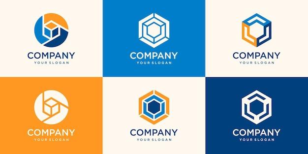 육각형 로고 세트. 최소한의 기하학 로고 디자인 서식 파일