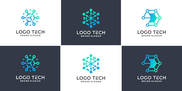 幾何学的なラインスタイルプレミアムベクトルと六角形の技術ロゴのセット