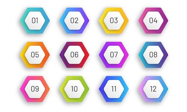 6 각형 글 머리 기호 집합입니다. 1에서 12까지의 숫자가있는 다채로운 그라데이션 마커. 아트 디자인