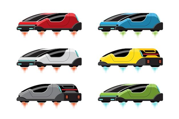 Набор высокотехнологичных спортивных автомобилей в современном стиле на белом