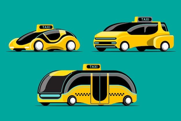 緑の上のモダンなスタイルのハイテクタクシー車のセット