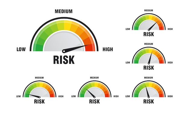 속도계 벡터 일러스트 레이 션, 속도계 아이콘에 높은 위험 개념의 집합입니다. 다채로운 infographic 게이지 요소 벡터