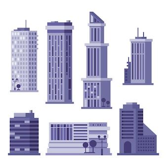 흰색 절연 높은 고층 빌딩의 집합