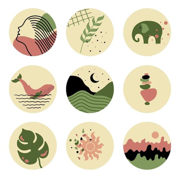 Круглый цветочный набор изюминок для историй в социальных сетях