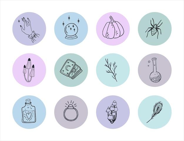 꽃과 연금술이 포함된 소셜 미디어 라운드 벡터 구성을 위한 하이라이트 스토리 아이콘 세트