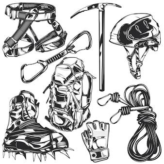 独自のバッジ、ロゴ、ラベル、ポスターなどを作成するためのハイキング要素のセット。白で隔離。