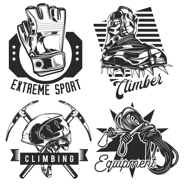 ハイキングのエンブレム、ラベル、バッジ、ロゴのセット。白で隔離