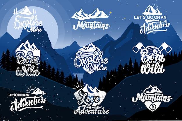 山を背景にハイキングエンブレムのセットです。ポスター、エンブレム、看板、tシャツの要素。図