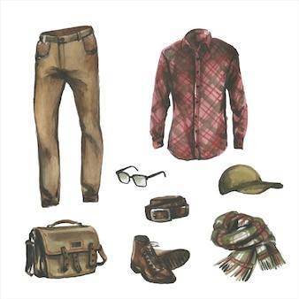 流行に敏感なデザイナーの服、靴、バッグのセット。カジュアルな服装の水彩イラスト。男性のストリートスタイルの手描きの絵。ワードローブコレクション
