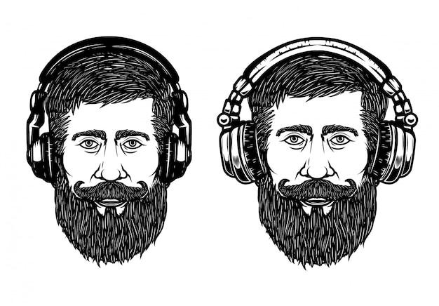 ヘッドフォンで流行に敏感な頭のセットです。エンブレム、看板、ラベル、ポスターの要素。図