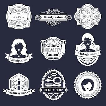 Набор битник женщина логотип салона красоты или винтажный магазин. коллекция ретро иконок в плоском стиле.