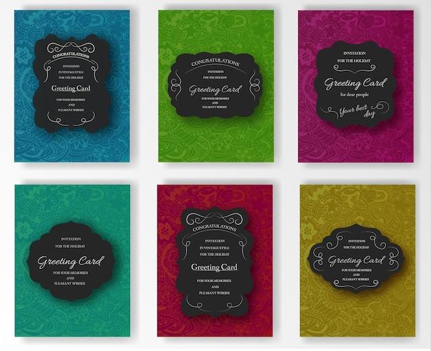 流行に敏感な装飾的なレトロなグリーティングカードのセット
