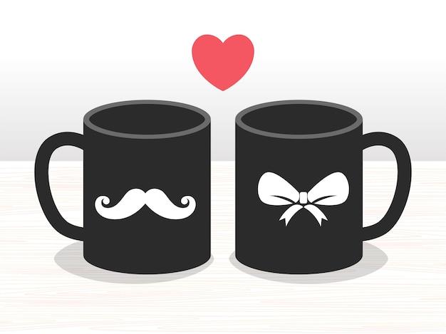 彼と彼女のコーヒーカップのセット