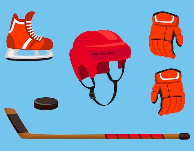 Набор хоккейных принадлежностей. спортивное снаряжение в мультяшном стиле.