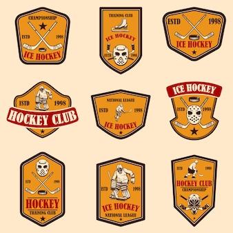 Набор эмблем хоккейного клуба. элемент дизайна для логотипа, этикетки, знака, плаката, баннера.